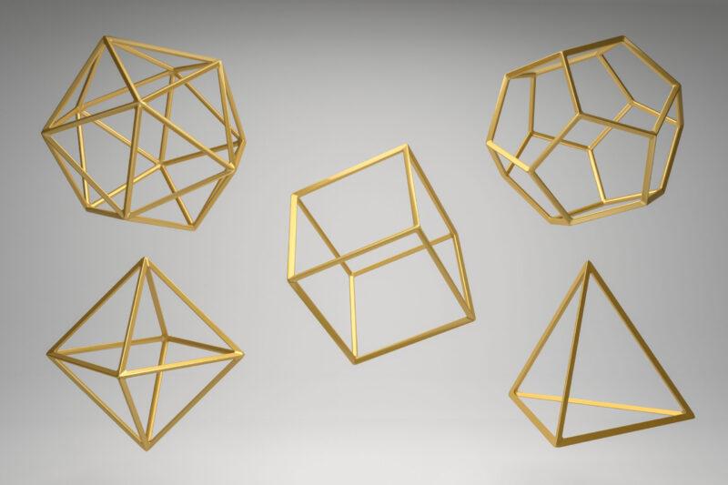 Zdjęcie przedstawia bryły platońskie które Laban użył jako modele ruchu w przestrzeni Laban/Bartenieff